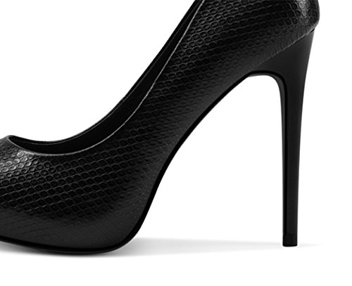 Moda Nero Singole Pelle Scarpe Tacco Alti Sexy 4 Nightclub da in Black Lavoro Matrimonio 11cm Scarpe UK snfgoij Fine EU Tacchi 36 Corte Donna Pelle Bovina f5qZ7pI