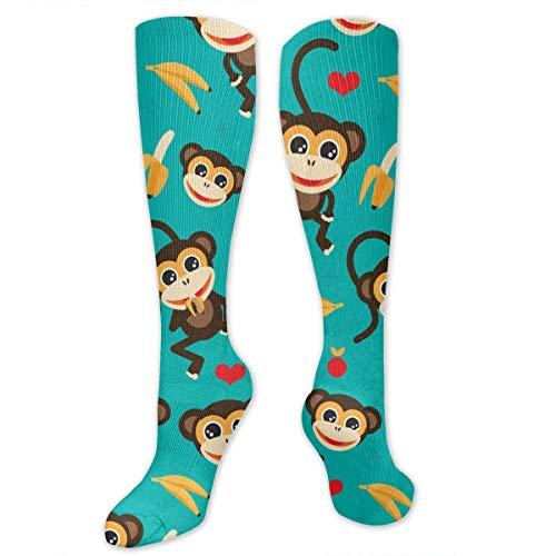MSONNET Athletic Socks Monkey Love Banana 3D Compression Socks Long Crew Socks - Great Gift for Men Women Boys Girls - Best Medical/Nursing/Travel/Flight Socks