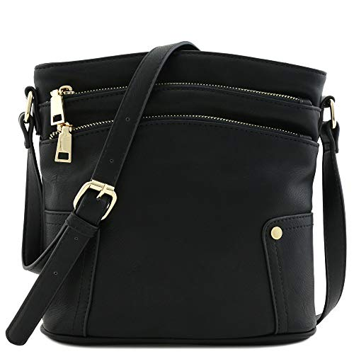 (Triple Zip Pocket Medium Crossbody Bag Black)