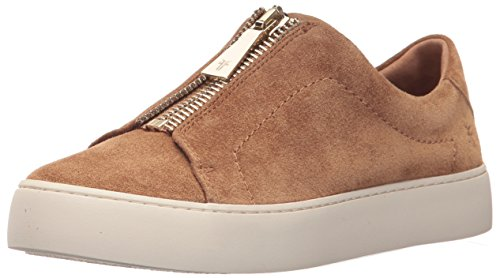 (FRYE Women's Lena Zip Low Fashion Sneaker, Tan Soft Oiled Suede, 10 M)