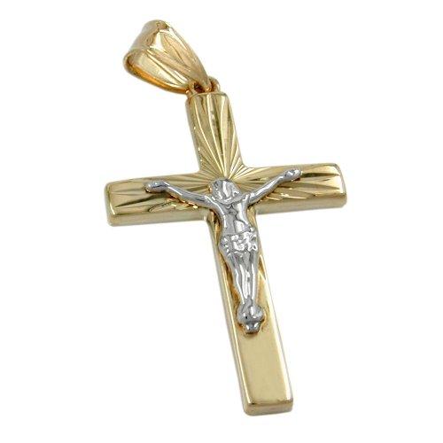 Pendant, Jesuskreuz bicolor, 9Kt GOLD