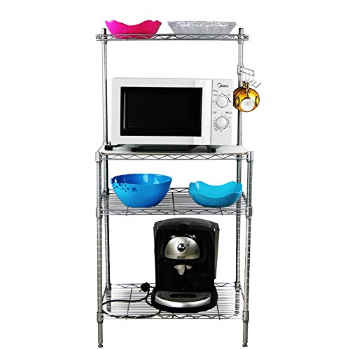CBOKE 3 Tiers Kitchen Storage Oven Bakers Rack Multi-function Shelf with Hanging Hooks Carbon Steel 13.8x21.7x47.2 In US Stock by CBOKE