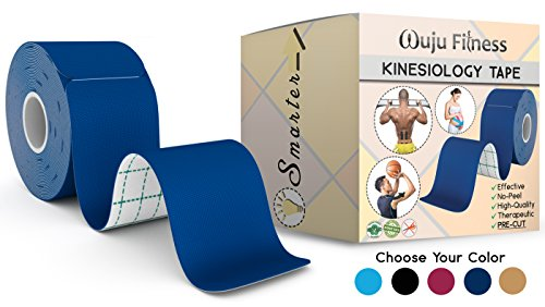 "Athletic Tape for First Aid Kit, Physical Support Therapy, Sports Exercises. Lower Back, Heel, Foot, Joint, Shoulder, Muscle and Plantar Fasciitis Pain Relief. 20 precut Royal Blue KT strips 2""x10 by Wuju Fitness"