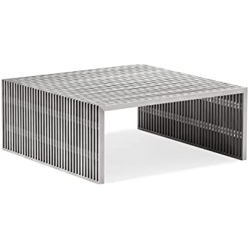 Zuo Novel Square Coffee Table, Brushed Stainless Steel