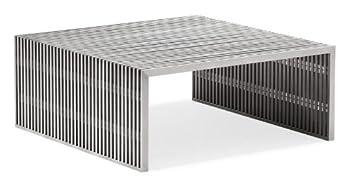 Amazoncom Zuo Modern Novel Square Coffee Table Brushed