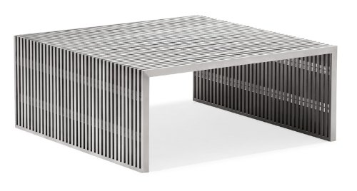 Amazon Com Zuo Modern Novel Square Coffee Table Brushed Stainless Steel Kitchen Dining