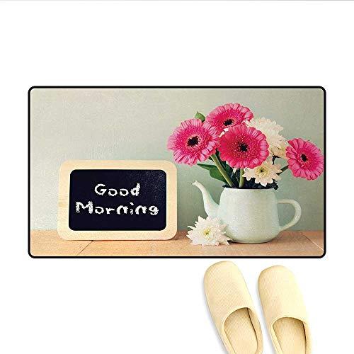 Caprice Vase - Door-mat,Blackboard with The Phrase Good Morning Written on It Next to Vase with Fresh Flowers,Door Mats for Inside Bathroom Mat Non Slip,Multicolor,Size:16