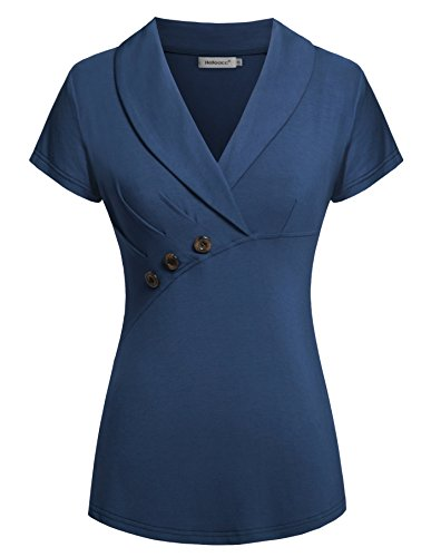Women Short Sleeve, Lapel Neck Comfy Top Casual Tunics Blue L (Flutter Cap Sleeve Tunic Top)