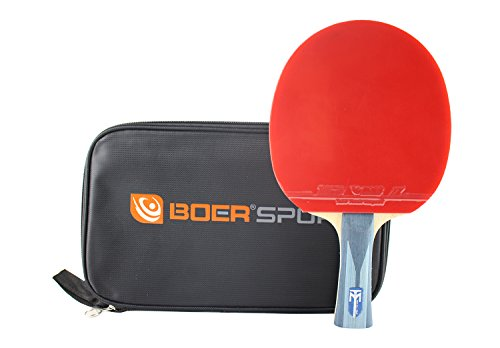 Professional Table Tennis Racket Paddle Carbon Fiber Advanced Trainning Ping Pong Racket with Carrying Bag (S7 Shakehand Racket)