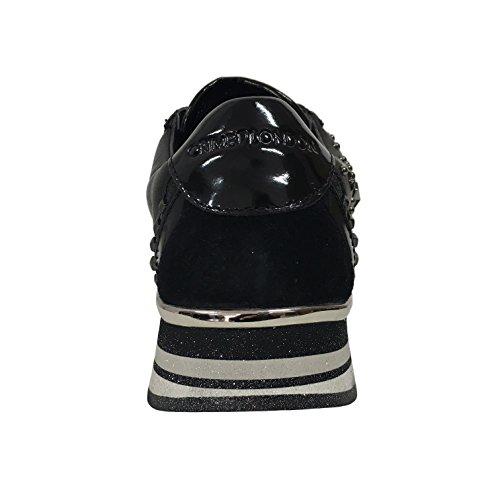 CRIME LONDON scarpa donna nera mod 25501A17.20 con applicazioni argento/fumo