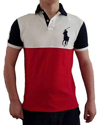 Polo Ralph Lauren Men's Custom Slim Fit Big Pony Logo Polo Shirt (Small, Ralph Red)