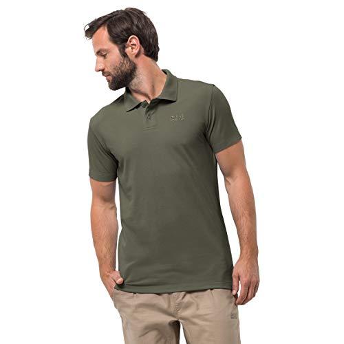 Mens Organic Pique Polo - Jack Wolfskin Pique Polo Shirt Large Woodland Green