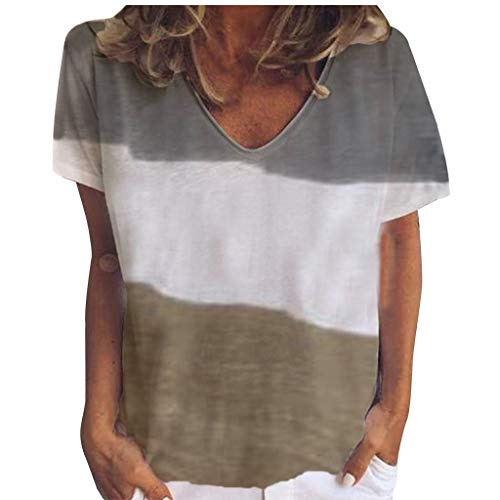 Toimothcn Women's Casual Short Sleeve V-Neck Tie Dye T-Shirt Tunic Tops Loose Blouse(Brown1,XXL) ()