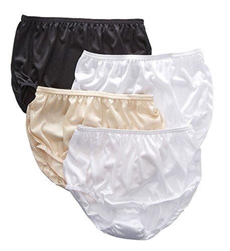 Teri Full Cut Nylon Brief Panty - 4 Pack (331) 10/Basic Asst - Nylon Full Brief