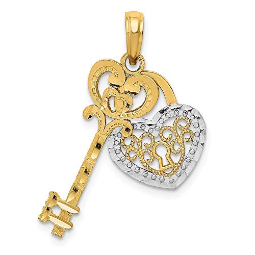 14k Yellow Gold White Filigree Heart Key Lock Pendant Charm Necklace Love With Fine Jewelry Gifts For Women For Her