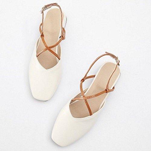 Coolcept Women Simple Slingback Sandals Block Heel White Wn2EITXX