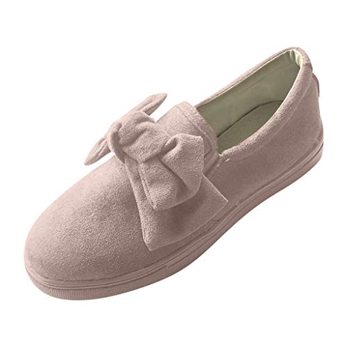 Duseedik Women's Slip On Sneakers Casual Single Shoes Thick Bottomed Elastic Band Breathable Bow Flat Shoe Gray