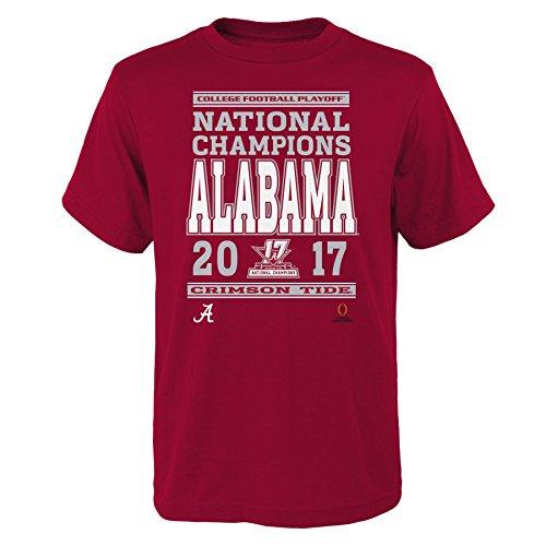 NCAA Alabama Crimson Tide-Kids NCAA Football Champions Short sleeve Cotton Tee, Kids Small (4), Dark Dark Red