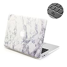 """Topinno®-2in1 White Marble-Hard Shell Case Print Frosted&Free Keyboard Cover Skin for Apple MacBook Air 13"""" 13.3"""" Inch, Model: A1369/A1466"""