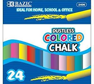 BAZIC Dustless Assorted Color Chalk (24/Box), Case Pack 24