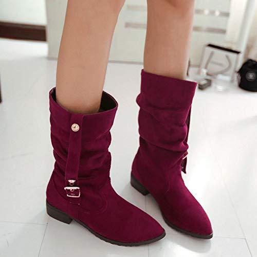 Roman SJJH Women Mid Calf Boots Red qtZgTUtrw