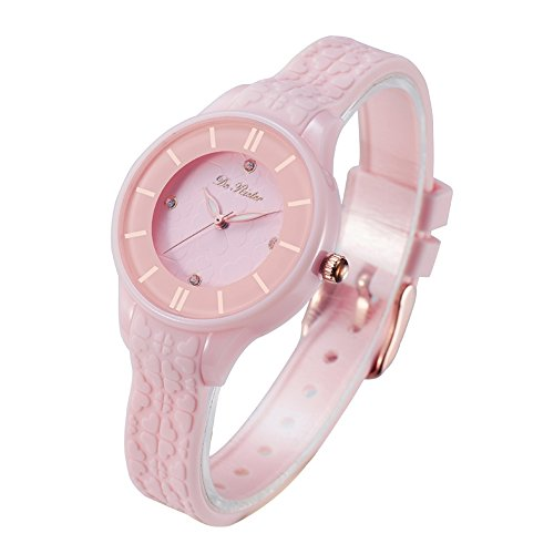 DR8986 Women Watches Silicone Strap Plastic Wristwatch for Ladies Waterproof Wrist Watch for Girls (Light Pink)