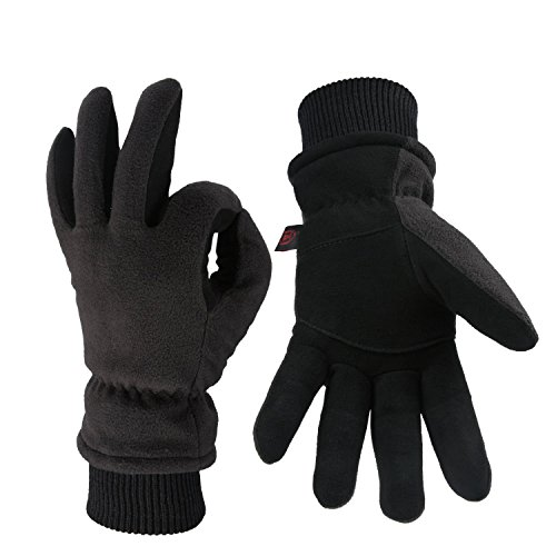 OZERO Work Gloves -30°F Coldproof Thermal Winter Glove - Deerskin Leather Palm & Polar Fleece Back with Insulated Cotton - Windproof Water-resistant Warm hands in Cold Weather for Women Men - Denim(M) by OZERO