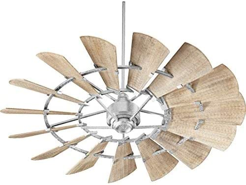 Quorum 96015-9 Protruding Mount, 15 Weathered Oak Blades Ceiling fan, Galvanized