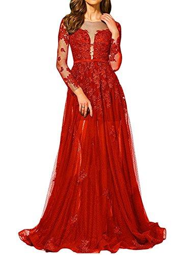 Brautjungfernkleider Abendkleider Line Festkleider Damen Applikation Spizte Red Lang BallKleider A qOBxR6H