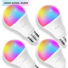 Smart Light Bulb with Soft White Light 2800k-6200k + RGBW, TECKIN A19 E27 WiFi Multicolor LED Bulb Compatible with Phone, Google Home and IFTTT (No Hub Required), 8w (60w Equivalent),4 Pack