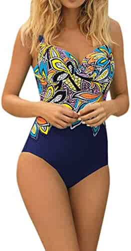 74088ab34f13a PASATO One-Piece Women Summer Backless Sexy Print Swimwear Beachwear  Siamese Swimsuit Bikini Set