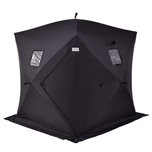 Tangkula Pop-up Ice Shelter 2-Person with Detachable Ventilation Windows, Zippered Door & Carry Bag Frost Resisting Durable Oxford Fabric Waterproof Portable Ice Fishing Tent Shanty, Black (Best Pop Up Ice Shelter)
