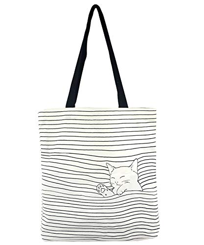 POPUCT Women's Cute Cat Canvas Tote Shopping Bag(White-1) -