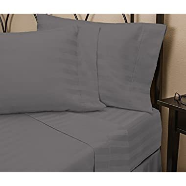 Hotel Luxury STRIPED Bed Sheets Set-SALE TODAY ONLY! #1 Rated On Amazon-Top Quality Bedding 1800 Series Platinum Collection-100% Money Back Guarantee!Deep Pocket, Wrinkle & Fade Resistant(Queen,Gray)
