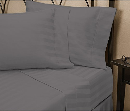Hotel Luxury STRIPED Bed Sheets Set-SALE TODAY ONLY! On Amazon-Top Quality Bedding 1800 Series Platinum Collection-100%!Deep Pocket, Wrinkle & Fade Resistant(King,Gray)