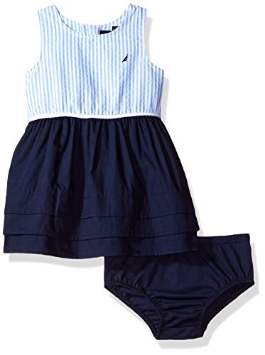 Nautica Baby Girls' Border Sail Print Dress, Navy, 3/6 Months (Bodice Border Print Dress)