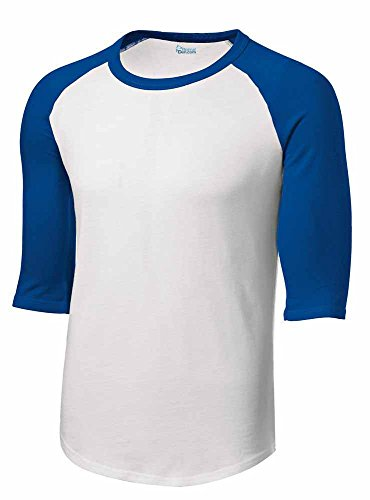 Mens or Youth 3/4 Sleeve 100% Cotton Baseball Tee Shirts Youth S to Adult 4X Wh/roy-xl