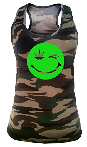 Junior's High Smiley Face Weed Leaf Tee V361 Camo Racerback Tank Top T-Shirt Large/X-Large Camo
