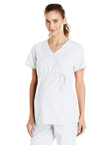 Cherokee Women's Maternity Mock Wrap Scrubs Shirt, White, Medium