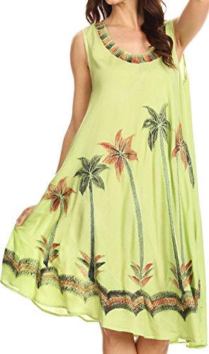 (Sakkas 117 Watercolor Palm Tree Tank Caftan Short Dress - Green/One Size)