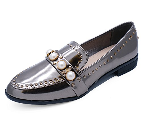 HeelzSoHigh Ladies Pewter Pearl Slip-on Flat Loafers Smart Casual Work Patent Shoes Sizes 3-8