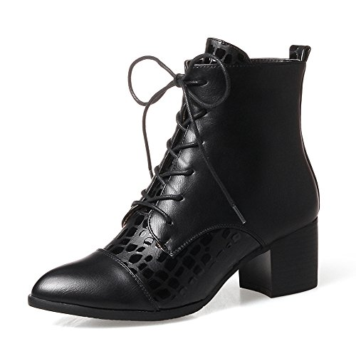 Meotina Women Boots High Heel Winter Shoes Block Heel Ankle Boots Lace up Black