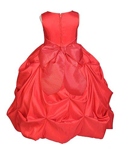 Wedding Pageant Taffeta Bubble Pick-up Taffeta Flower Girl Dress Easter Summer 301s 4 (Taffeta Red Bubble)