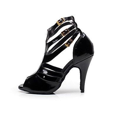 XIAMUO Anpassbare Damen Tanz Schuhe Kunstleder Latin/Salsa Sandalen angepasste Ferse Innen-/Performance Schwarz, Schwarz, US 9.5-10/EU 41/ UK 7,5-8/CN 42