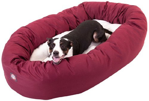 (40 inch Burgundy & Sherpa Bagel Dog Bed By Majestic Pet Products)