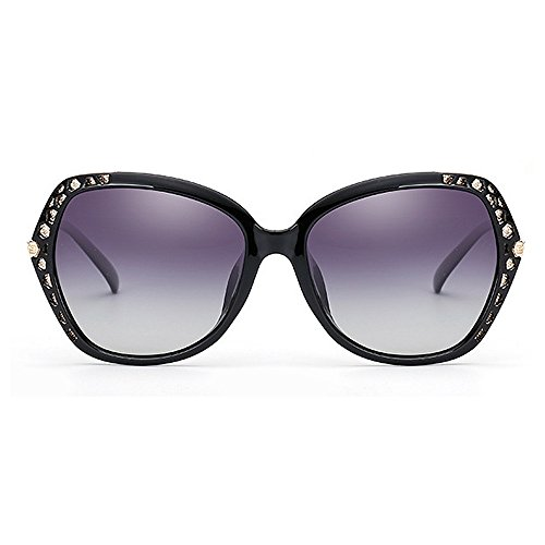 de Gafas sol de cuadrada sol gran montura sol de montura sol de con Gafas de de tamaño ribetes mujer sol polarizadas mujeres para de Gafas Protección para conducir Negro Classic Gafas Gafas con UV Cool tFwR5