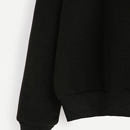 HARRYSTORE Super Cool mujeres de cuello redondo impresión letra de manga larga casual sudadera negro negro Negro