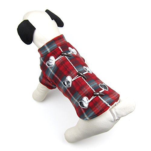 Alfie Pet - Toby Checkered Flannel with Sherpa Lining Coat - Color: Red, Size: Small]()