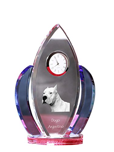 Dogo Argentino, Crystal Clock, Shape of Wings with The Image of a Dog 3