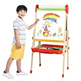 JOYOOSS Kids Wooden Easel with Paper Roll & Storage - Adjustable Magnetic Double Side Drawing Board Whiteboard & Chalkboard Dry Easel for 2-6 Years Toddlers Children Painting